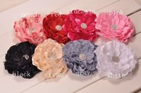 Wholesale Wholesale Flower Brooch Hair Clip - Big Lace Peony Flowers With Shiny Gem Center Brooch Hair clips Trial order 30PCS LOT QueenBaby