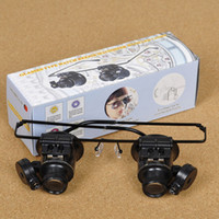 Wholesale Loupe Lamp Black - Double Layer Lens Magnification Glasses Type Watch Black 20X Repair Loupe Magnifier with LED Light