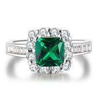 Wholesale Beryl Jewelry - Green Beryl Jewelry Wedding Rings For Women White Gold Plated CZ Diamond Engagement Bague Bijoux Luxury Accessories MSR188