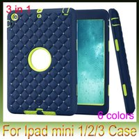 Für Ipad Mini 1 2 3 Bling Diamond Starry Checkered Shockproof Fall Hartplastik + Soft Skin Hybride Schicht Rüstung Schwer