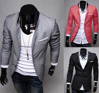ingrosso vestito casuale grigio mens-S5Q Mens Abiti Casual Slim Fit Vestito Elegante Blazer Cappotti Giacche AAACFQ
