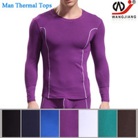 Wholesale Sexy Underclothes - ONLY TOP Winter Man Thermal Underwear Men's Long Sexy Underwear Long Sleeve Tops Tight Underclothes Bamboo long clothes W3004-SY