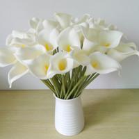 künstliche sträuße für die dekoration großhandel-DES FLORAL Dekorative blume Künstliche Mini Calla Lily Bouquet Für Hochzeitsdekoration Künstliche Blumen Calla Lily Bouquet Für Hochzeit