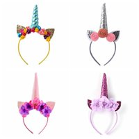 Wholesale infant flower costumes - Rainbow Unicorn Rabbit Ear Headband Flower Spiral Unicorn Horn Infant Sequins Hair Bands Cosplay Party Costume Headwear 30Sets OOA3401