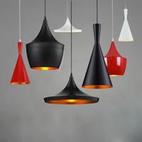 lampes hôtelières à vendre achat en gros de-2015 Hot Sales Tom Dixon Design Lampe LED E27 ampoule Restaurant instrument de musique noir / blanc Plafond maison Suspension A + B + C par set