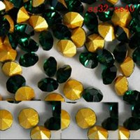 Wholesale Glass Beads ss32 ss40 emerald color pointback rhinestones glass material used for jewelry nail art decoration