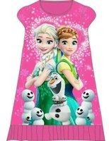 Wholesale Children Night Wear - free by dhl Girls pajamas Dress elsa and anna dress cartoon Princess Dress Kids Girls Night Dress Home Wear Dresses Children Cute Clothes