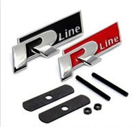 Wholesale Vw Hood Badge - FAST SHIPPING R line Metal 3D Front Hood Grill Badge Car Emblem stickers for VW Golf 6 Jetta MK5 MK6 POLO passat B5 B6 B7