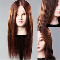 Wholesale Mannequin For Hair Style - Professional plastic female mannequin heads with stand 100% natural hair for barber training use 3 colors