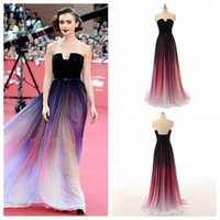 Wholesale Strapless Ombre - 2016 Elegnat Colorful Elie Saab Ombre Chiffon Evening Dresses Formal Wears For Ladies Lily Collins Party Gowns Celebrity Prom Dress Long