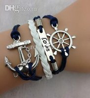 Wholesale-3pcs Rudder, Love and Anchor Charm Armband in Silber - Marineblau Wax Cords und weißem Leder Braid Armband 994