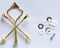50 ensembles / lot 3 Tier Cake Stands Plate Handle Fitting Silver Gold Wedding Party Crown Rod