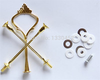 Wholesale Tier Silver Plate - 50 sets lot 3 Tier Cake Stands Plate Handle Fitting Silver gold Wedding Party Crown Rod