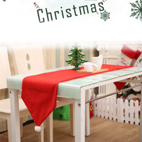 Wholesale kitchen ornament - 34*176cm Red Chirstmas Table Cloth Xmas Tablecloth Dining Kitchen Tool Table Cover Christmas Dinner Party Decorations Ornament IB526
