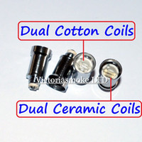 Wholesale Double Clearomizer - New Arrival Dual Coil For Wax Glass Globe Atomizer Clearomizer Double Ceramic Rod Coil Titanium Wick Glass Globe Replacement Coil Head eCigs