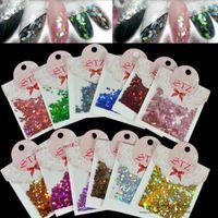 Wholesale Rhombus Glitter Nail Art - Wholesale-12Color 3D Glitter Nail Art Powder Decorations Rhombus Paillette Lozenge Diamond Slice Spangles Nail Art Charm Tools For Toes