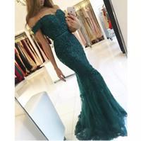 moda vestido real china venda por atacado-Hot Sale Charme verde escuro Prom vestidos de renda apliques fora do ombro vestidos sereia vestido de noite longo partido