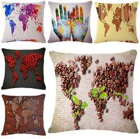 Wholesale Chic Cushion Covers - colorful world map cushion cover shabby chic throw pillow case home decor 45cm linen fabric funda cojin almofadas