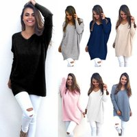 Wholesale womens baggy sweaters - Womens Ladies V-Neck Chunky Knitted Oversized Baggy Sweaters Thin Jumper Tops Outwear Black White Plus Size S-2XL