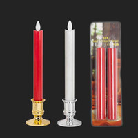 2pcs / lot Moving Wick Flameless LED Candlestick larga vela Taper Dancing Flame con control remoto para la decoración de la boda de Navidad Luces
