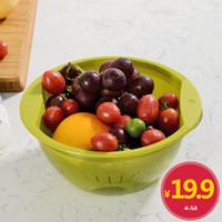 b22 süngü öncülük etti toptan satış-Tek rütbeleri Gedi serisi plastik çift drenaj meyve ve sebze sepeti sepetleri damlayan elek drenaj havzası yıkama bulaşıkları