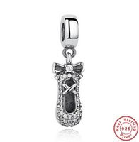 Wholesale Silver Ballet Slippers - 925 Sterling Silver Ballet Slipper Pendant Charm Fit Bracelet & Necklace With Shining Crystal DIY Jewelry Accessories Valentine Gift DCBJ496