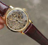 transparente handuhr mann großhandel-Original Brand Winner Gold Mode Lässig Edelstahl Mens Mechanische Uhr Skeleton Hand Wind Uhren Für Männer Leder Armbanduhr Transparent