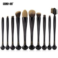 Wholesale Powder Eyeliner Pencil - Maange Professional 10pcs Shell Makeup Brushes Set Foundation Blending Pencil Powder Eyeshadow Eyeliner Eyebrow Lip Cosmetic Tool