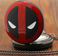 Wholesale Necklace Watches Children - DEADPOOL Superhero altman Pocket Watches cartoon film theme pendant necklace new Sweater chain jewelry men women children party festive gift