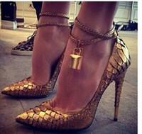 Wholesale Golden Strap Lock - New arrival luxury women pumps design golden lock ankle strap ladies high heels genuine leather dress wedding shoes for woman
