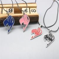 logotipo de cola de hadas collares al por mayor-Moda Anime Fairy Tail Necklace Guild Logo Tattoo Colgantes Collar de cadena de cuero plateado plata para hombres Mujeres