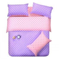 Wholesale Western Style Doona Covers - Purple pink dots bedding set polka dot full queen size double doona quilt duvet cover cotton bed sheets bedspread linen bedsheet western