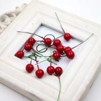 Wholesale Artificial Wild Flowers - Wholesale- 20pcs Foam Realistic Red Berry Artificial Wild Fruit Flower For Wedding Decoration Pistil DIY Gift Scrapbooking Craft Flower