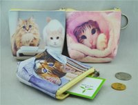 Wholesale Cat Money Purse - Fashion Cute Cats Printed Women's Zipper PU Coin Purse Wallets Mini Money Bags Classic For Women Lady Girls 12Pcs Lot Free Shipping
