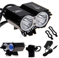 Wholesale Cree Led U2 Bike Light - Solarstorm Bike lights headlamp Headlight 2x CREE U2 LED 2000LM Front Bicycle Light Bike Outdoor Flash Lights +Battery Pack+Charger