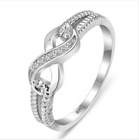 Wholesale 925 wholesale silver ladies rings - Wholesale-Genuine 925 Sterling Silver Jewelry Designer Brand Rings For Women Wedding Lady Infinity 3.5 Ring Size