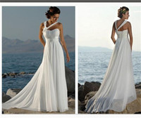Wholesale One Shoulder Lace Up - Cheap Under $60 Beach Wedding Dresses Halter Chiffon Long Bridal Gowns Lace Up Elegant White Foraml Wear Formal Party Gowns 2016
