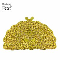 Boutique De FGG Yellow Crystal Peacock Bolsos de noche Animal Clutch Mujeres Metal Clutches Bolsos de fiesta nupcial Bolsos y carteras