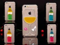 For Apple iPhone Plastic Transparent Newest 3D Red Wine Cup Cocktail Beer Liquid transparent Flowing Case Cover For Apple iPhone6 4.7 inch 6Plus 5.5 inch Phone Cases Back Covers