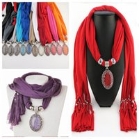 Wholesale Cheap Red Scarves - FreeDHL Cheap pendants scarf jewelry New scarf with jewellery cotton soft scarves beads Necklace Scarfs top quality E88L