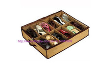 Wholesale 1set Shoe Storage Box Foldable Organizer Holder Fabric Bag Intake shoes Under Bed Closet Canvas can put pairs shoes