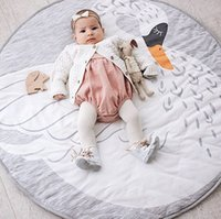 Wholesale Kids Floor Rugs - Wholesale- Cotton Kids Baby Play Mats Round Carpet Rugs Mat Swan Crawling Blanket Kids Room Flooring Mat Carpet Toy Mat For Kids Toys Gifts