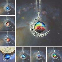 Wholesale Colorful Resin Necklace - 2014 Top Sale Moon Necklace Jewelry Colorful Starry Glass Hollow Galaxy Moon Universe Gemstone Pendant Necklaces 925 Silver Chain Mix Style