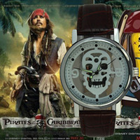 Wholesale Pirate Ship Pin - Free shipping Men Pirate hollow skull Men's quartz watch 4 colours retail and wholesale