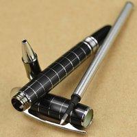 Wholesale Baoer 79 - Wholesale Baoer 79 Black Chessboard Silver Line Roller Ball Pen Business & School Supplies