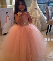 Wholesale Flower Embellishments - Spaghetti Straps Flower Girls Dresses Cheap Coral Tulle Fluffy Crystals Belt Embellishment Lovely Communion Dress Long Girls Pageant Gowns