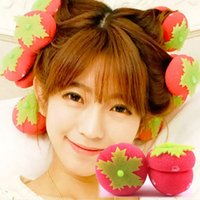 Cute 6 pcs Strawberry Hair Rollers Magic Soft Foam Sponge Curlers Curls pour tous les âges
