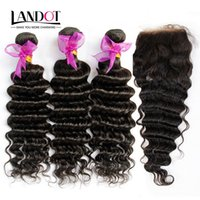 Wholesale Deep Wave Eurasian Hair - Eurasian Virgin Hair Deep Wave With Closure 7A Unprocessed Curly Human Hair Weave 3 Bundles And 1Piece Top Lace Closures Natural Black Wefts