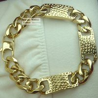 Wholesale Braclet Links - Men's Cool 14K 14CT Gold Filled GF 14mm Width 23cm Length Cool Braclet B140