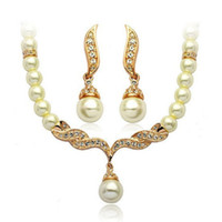 "Wholesale Gift For Mother Christmas - New 18K Yellow Gold Plated Crystal Paved Wing of Angel 18"" Necklace Earrings Fashion Bridal Wedding Pearl Jewelry Sets Gift for Women"